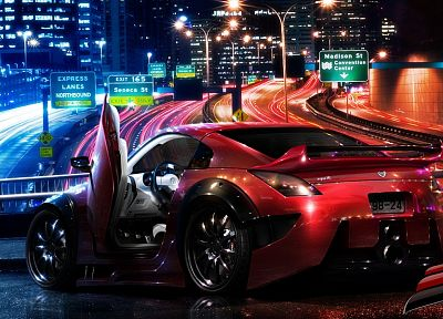 cityscapes, night, cars, scenic, vehicles, Nissan 350Z, Nissan Fairlady Z33 350Z - related desktop wallpaper