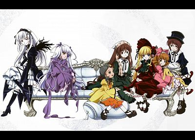 Rozen Maiden, Shinku, Suiseiseki, Suigintou, Souseiseki, Kanaria, Hina Ichigo, simple background, Barasuishou - desktop wallpaper
