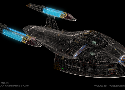 Star Trek, CGI, spaceships, wireframe - random desktop wallpaper