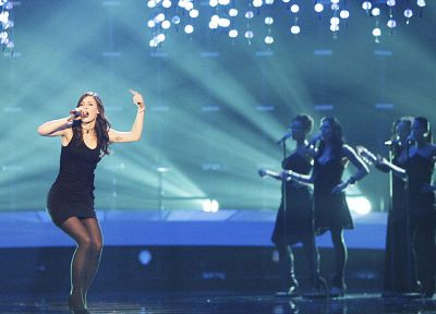 brunettes, women, dress, pantyhose, high heels, singers, Lena Meyer-Landrut, Eurovision Song Contest - related desktop wallpaper