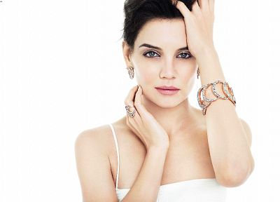 brunettes, women, white, actress, Katie Holmes - related desktop wallpaper