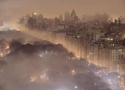 cityscapes, night, lights, fog, buildings, New York City - desktop wallpaper