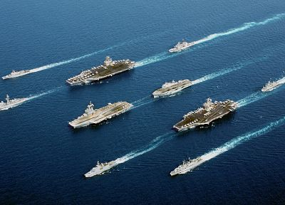 ocean, navy, aircraft carriers, fleet - desktop wallpaper