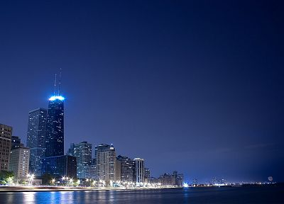 skylines, Chicago, night, cities - random desktop wallpaper