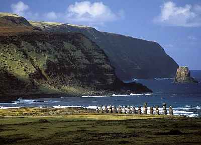 Chile, Easter Island, guardians, moai, site - related desktop wallpaper