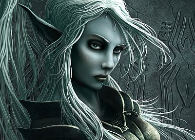 CGI, fantasy art, elves, drow - desktop wallpaper