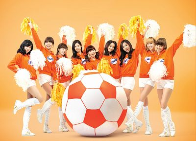women, cosplay, Girls Generation SNSD, cheerleaders, soccer balls - desktop wallpaper