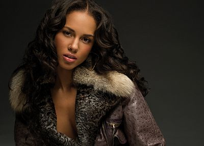 brunettes, women, black people, Alicia Keys, singers, curly hair - desktop wallpaper