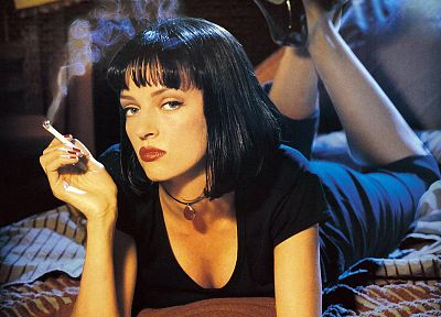 movies, Pulp Fiction, Uma Thurman, smokes, cigarettes - random desktop wallpaper