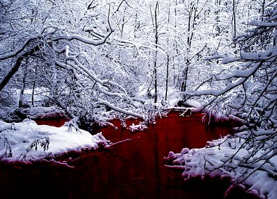 snow, blood, lakes - desktop wallpaper