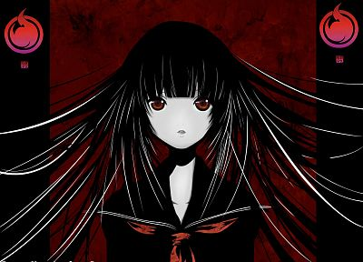 dark, school uniforms, schoolgirls, Jigoku Shoujo, long hair, red eyes, Enma Ai, anime girls, pale skin, sailor uniforms, bangs, black hair - desktop wallpaper