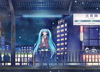 women, Vocaloid, Hatsune Miku, twintails, snowing, sweaters - related desktop wallpaper