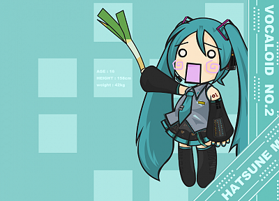 Vocaloid, Hatsune Miku, chibi, Hachune Miku, detached sleeves, Vocaloid Fanmade - desktop wallpaper