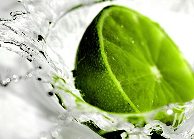 green, water, fruits, limes - desktop wallpaper
