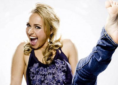 blondes, legs, women, actress, Hayden Panettiere, feet, celebrity, toes, smiling, soles, white background - desktop wallpaper