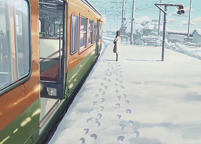 trains, Makoto Shinkai, 5 Centimeters Per Second, artwork, vehicles, snow landscapes, footprint - random desktop wallpaper
