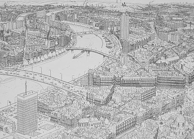 cityscapes, bridges, buildings, drawn, rivers - related desktop wallpaper