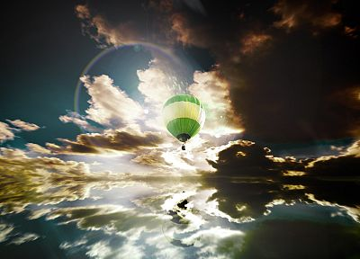 clouds, hot air balloons, 3D, skyscapes - related desktop wallpaper