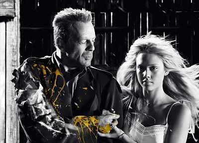 movies, Jessica Alba, Sin City, Bruce Willis, selective coloring - related desktop wallpaper
