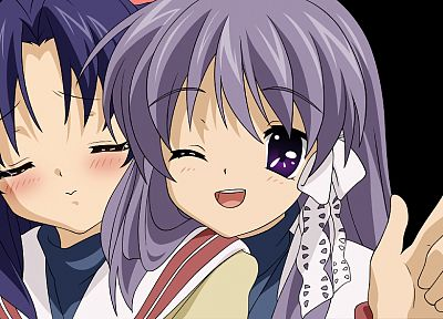 Ichinose Kotomi, Clannad, Fujibayashi Kyou, black background - desktop wallpaper