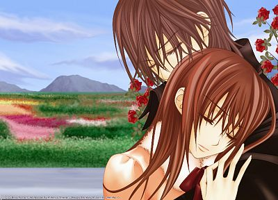 couple, Vampire Knight, anime, Yuki Cross, Kuran Kaname, hugging - random desktop wallpaper