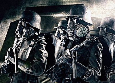 soldiers, weapons, gas masks, Nazi, MP-40, mp40, Iron Sky - desktop wallpaper