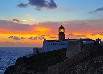 sunset, lighthouses, Portugal - random desktop wallpaper