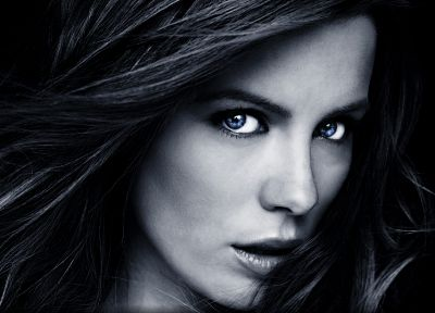 women, blue eyes, Kate Beckinsale, monochrome, faces - related desktop wallpaper