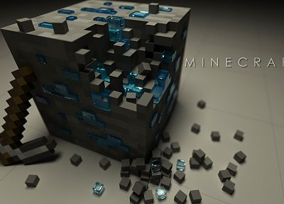 video games, Minecraft, diamonds, pickaxes - related desktop wallpaper