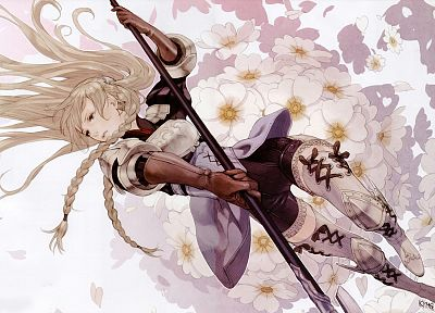 blondes, autumn, flowers, falling down, weapons, female warriors, soft shading, anime girls, Tactics Ogre, Ravness Loxaerion - random desktop wallpaper