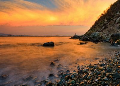 sunset, rocks, sea, beaches - desktop wallpaper