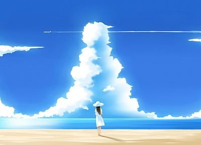 clouds, anime, skyscapes, anime girls, beaches - desktop wallpaper