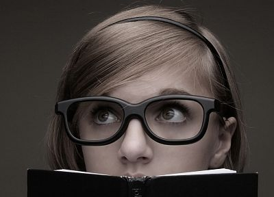 blondes, women, nerd, glasses, brown eyes, books, headbands, girls with glasses - random desktop wallpaper