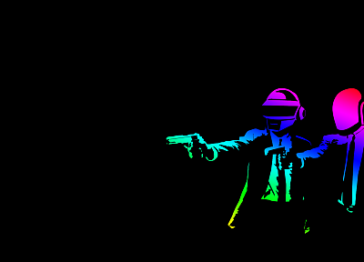 guns, multicolor, Daft Punk, Pulp Fiction - related desktop wallpaper