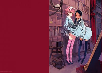 library, thigh highs, Oyari Ashito - desktop wallpaper