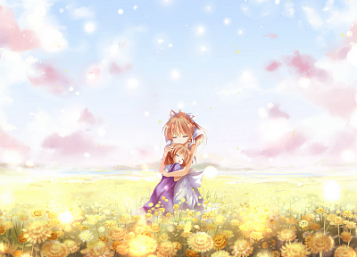 clouds, flowers, fields, Clannad, Furukawa Nagisa, Okazaki Ushio, skyscapes, anime girls - random desktop wallpaper