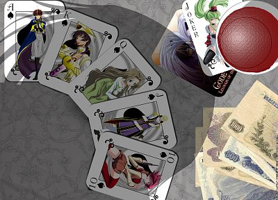 cards, Code Geass, Kururugi Suzaku, Stadtfeld Kallen, Lamperouge Nunnally, Lamperouge Lelouch, C.C., Schneizel el Britannia - related desktop wallpaper