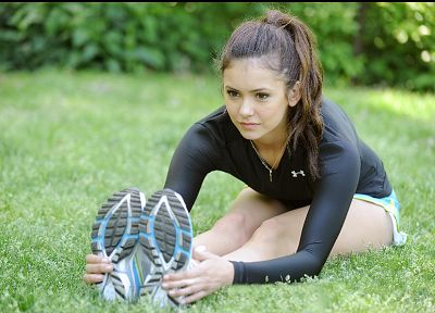 women, actress, grass, celebrity, Nina Dobrev, Under Armour - random desktop wallpaper