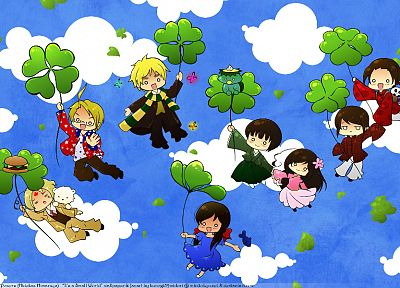 clouds, England, China, chibi, Canada, USA, Hong Kong, Taiwan, anime, Axis Powers Hetalia, Seychelles - related desktop wallpaper