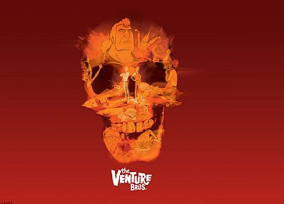 skulls, The Venture Bros., animation, red background, Hank Venture, Dean Venture, Brock Samson, Dr. Venture - desktop wallpaper