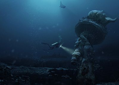 ocean, post-apocalyptic, diver, fish, Statue of Liberty, fantasy art, underwater, torch - random desktop wallpaper