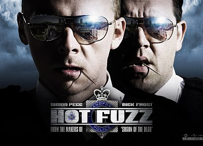 movies, sunglasses, Hot Fuzz, Simon Pegg, Nick Frost, reflections - desktop wallpaper