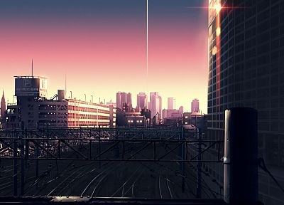 sunset, cityscapes, architecture, buildings, railroad tracks, anime, The Place Promised in Our Early Days - random desktop wallpaper