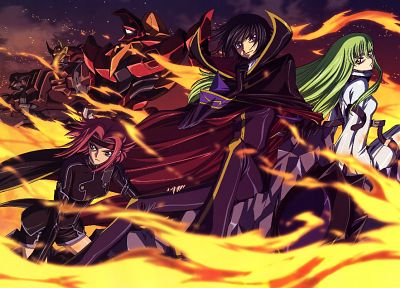 Code Geass, Stadtfeld Kallen, Lamperouge Lelouch, C.C. - random desktop wallpaper