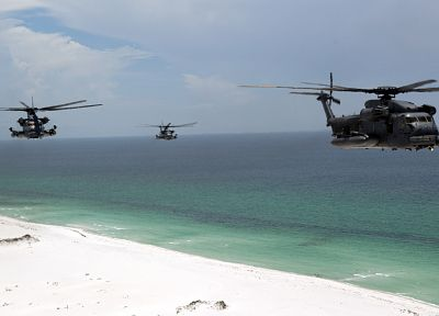 ocean, military, helicopters, pave low, vehicles, MH-53 Pave Low, beaches - random desktop wallpaper