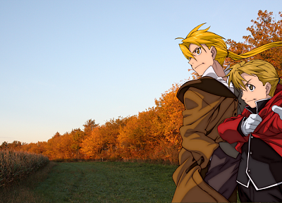 Fullmetal Alchemist, blondes, trees, fields, Elric Alphonse, Elric Edward, sunlight, backgrounds - random desktop wallpaper