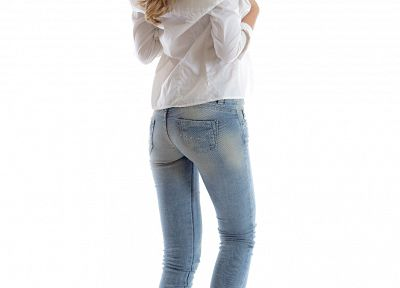 women, jeans, barefoot, Mathea, Ksenya B - random desktop wallpaper