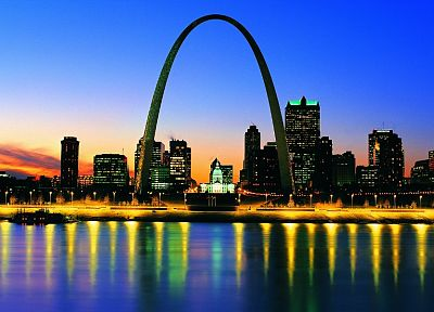 cityscapes, night, multicolor, St Louis, St. Louis Arch - desktop wallpaper