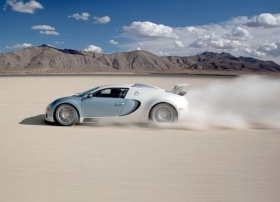cars, deserts, Bugatti Veyron, vehicles, supercars, tires, side view - random desktop wallpaper