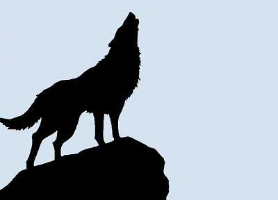 silhouettes, vectors, Wolfs Rain, simple background, wolves - desktop wallpaper